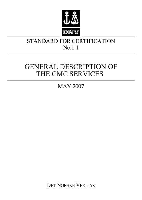 DNV Standard for Certification No. 1.1, General