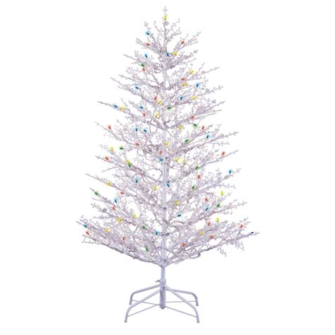 shop ge 5 ft pre lit winterberry white artificial