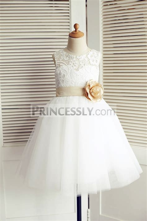 ivory lace tulle wedding flower girl dress  champagne