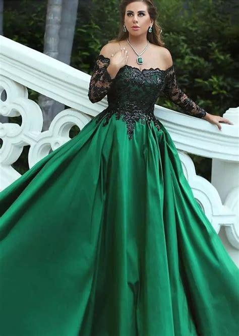 Dark Green Satin Plus Size Evening Dresses Off #prom # ...