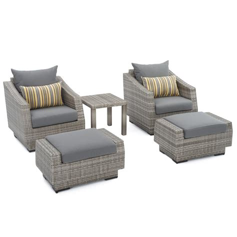 grey chair and ottoman rst brands cannes 5 piece wicker patio club chair and