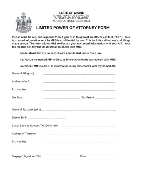 sample power  attorney forms   ms word