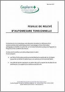 Fiche Automesure Tensionnelle : cespharm feuille de relev d 39 automesure tensionnelle outil ducatif ~ Medecine-chirurgie-esthetiques.com Avis de Voitures