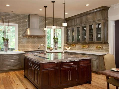 Contemporary Kitchen With Distressed Gray Cabinets   HGTV