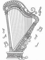 Coloring Harp Adult Adults Mandala Sheets Para Colouring Colorear Heart Musical Harpe Drawing Instruments Notes Cool Drawings Música Blanco Clip sketch template