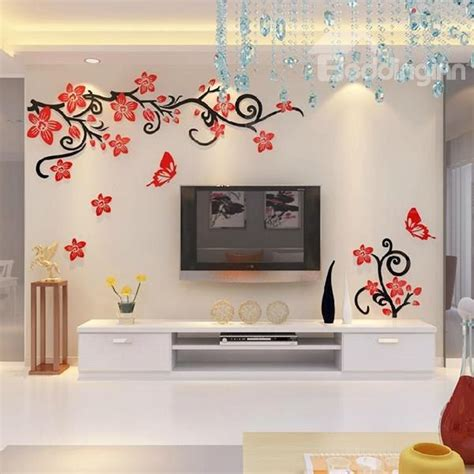 Wall Stickers For Living Room Flipkart by Fabulous Acrylic 3d Flowers And Vines Tv Wall Bedroom 3d