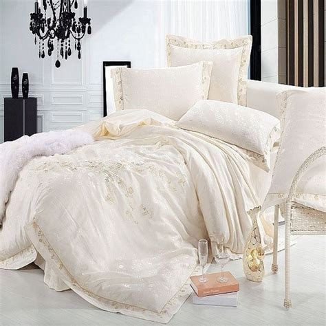 colored comforters jacquard satin bedding set luxury 4 6pc embroidered princess duvet cover silk cotton bedclothes