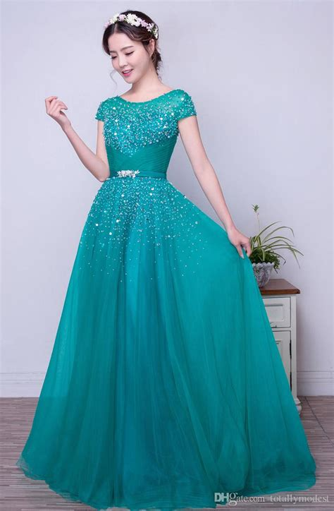 Turquoise Tulle A Line Long Modest Prom Dresses With Short ...