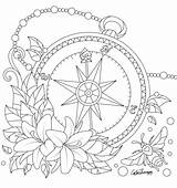 Coloring Pages Pattern Compass Adult Printable Drawing Creative Sheets Mandala Tattoo Colouring Tattoos Kylee Uploaded User sketch template
