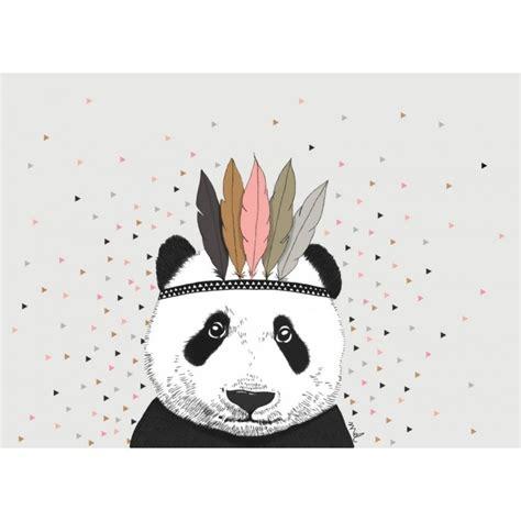 Poster Panda Babykamer by Minimel Poster Panda Triangles L Kinder