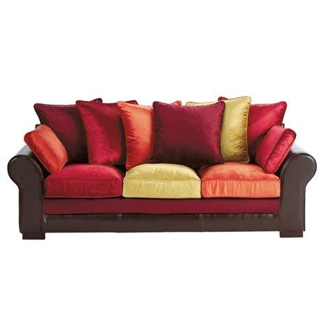 canape en s canapé 3 places en croûte de cuir et velours multicolore