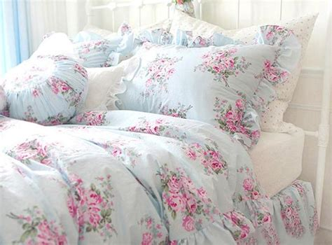 shabby chic bedding king king queen full twin princess shabby floral chic blue duvet comforter cover set