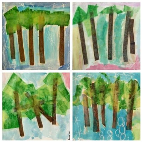 grade landscapes  tissue paper white crayons