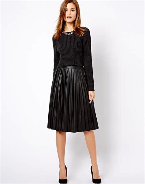 asos warehouse leather look pleated midi skirt in black lyst