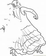 Dancer Flamenco Dot Dots Worksheet Printable Connect sketch template