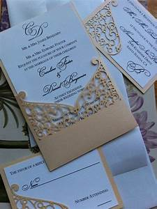 Lasercut wedding invitation sleeve pocket elegant swirl for Wedding invitations jacket pocket