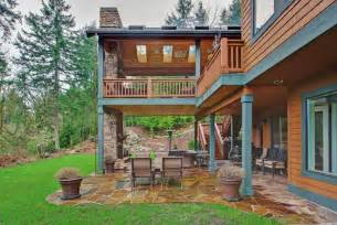 bi level floor plans two level covered deck rustic deck seattle by