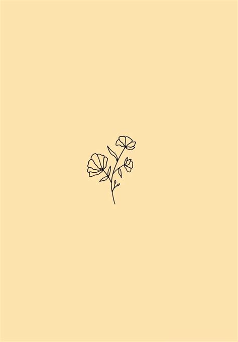 Aesthetic Orange Minimalist Wallpaper by Minimalist Flower Wallpaper Pastel Yellow Background
