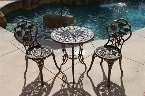 3pcs Patio Furniture Cast Aluminum Bistro Set Table