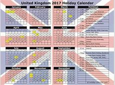 January 2018 Calendar With Holidays UK – printable