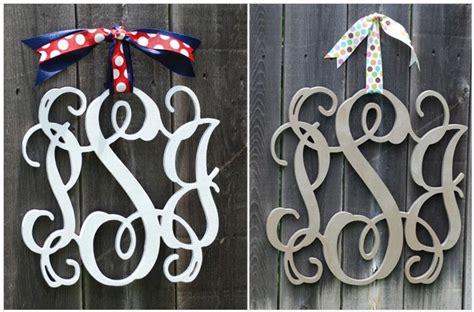 personalized  letter monogrammed wooden wreath