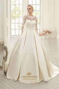 long sleeve illusion bodice a line satin wedding dress With illusion bodice wedding dress