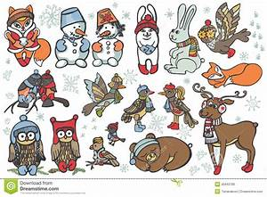 Christmas Animals Set.Funny Forest.Winter Stock Vector ...