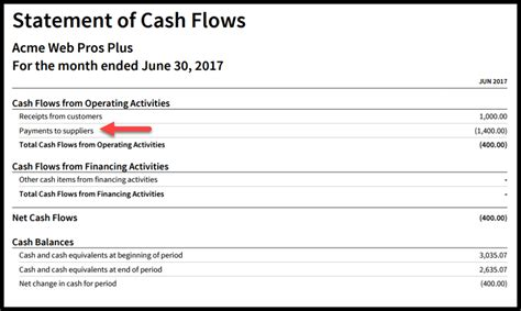 create  cash flow statement  xero