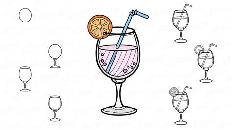 Wir lernen, einen Cocktail in Etappen zu zeichnen