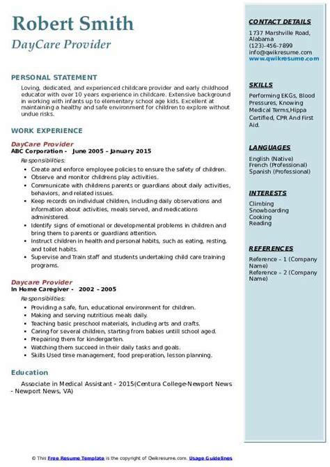 daycare provider resume samples qwikresume