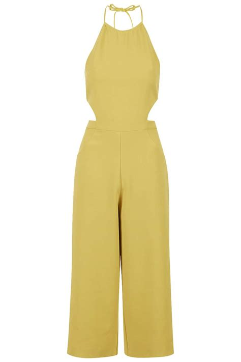womens yellow jumpsuit topshop halterneck culotte jumpsuit in yellow mustard lyst