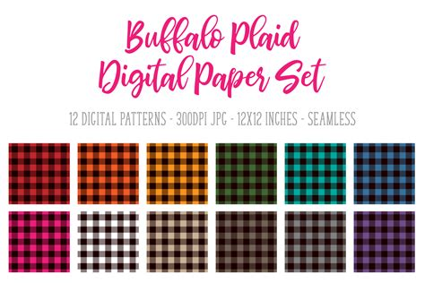 buffalo plaid digital paperseamless pattern set