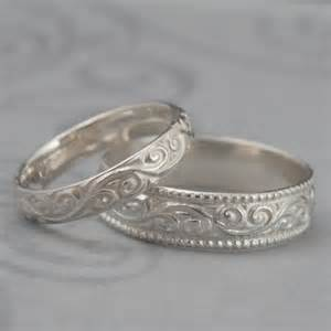custom made wedding rings flourish wide wedding band set sterling silver swirl patterned his and hers wedding rings