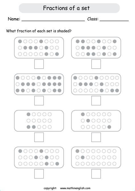 all worksheets 187 fractions of a set worksheets printable