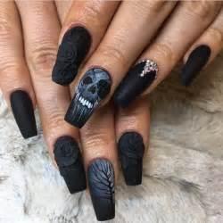 Acrylic nail art on designs coffin