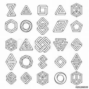 Graphic Impossible Shapes  Circle  Square And Triangle Symbols With Escher Paradox Impossible