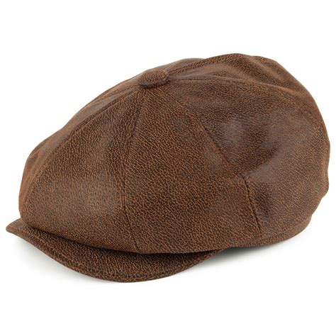 jaxon brown leather newsboy cap 1920s peaky blinders style gatsby flat cap hat ebay