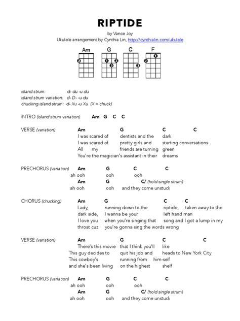 Free ukulele chord tutorials riptide ukulele performed live at kroq. RIPTIDE - Ukulele Chord Chart.pdf | Song Structure | Song Recordings
