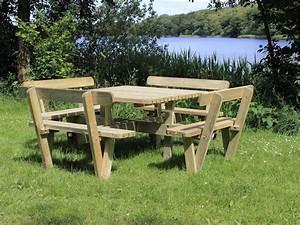 Table Carre Exterieur : table pique nique carr 237 cm en bois avec 4 bancs et dossiers ~ Teatrodelosmanantiales.com Idées de Décoration