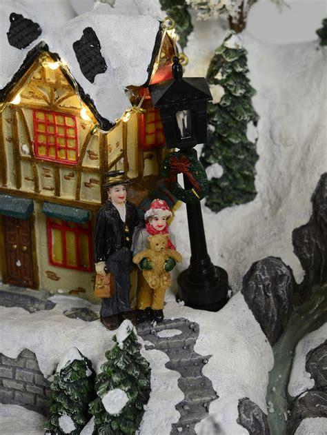 illuminated animated musical north pole village scene