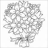 Coloring Flowers Bouquet Pages Printable sketch template