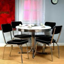shop tms furniture retro black dining set with round dining table at lowes com