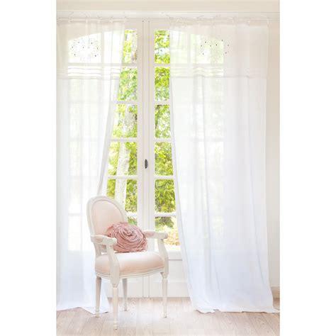 rideau 224 nouettes brod 233 en coton blanc 110 x 250 cm eloise maisons du monde