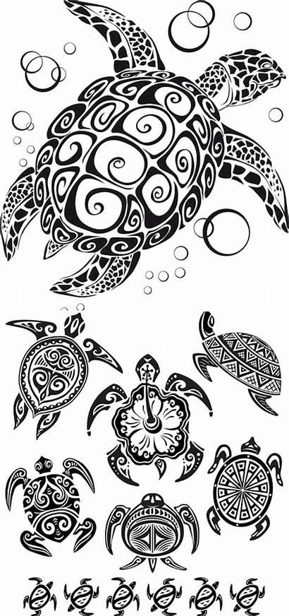Turtle Tribal Vector Tattoos Tattoo Hawaiian Sea