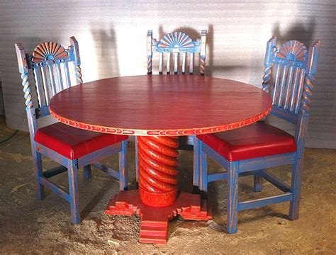 great southwest  dining set sandblasted red table blue