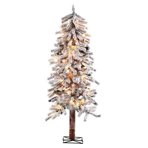 sterling nine foot flocked led trees sterling 6 ft pre lit flocked alpine artificial tree with clear lights 5814 60c