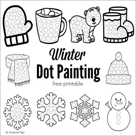 winter dot painting free printable winter