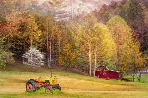 Spring farm scenes (page 1). Early Spring Farm In Gold and Red Photograph by Debra and ...