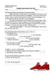 English Worksheet The Poor Man
