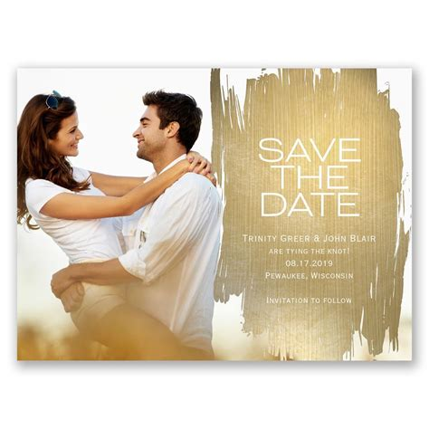 brushed  gold save  date card anns bridal bargains